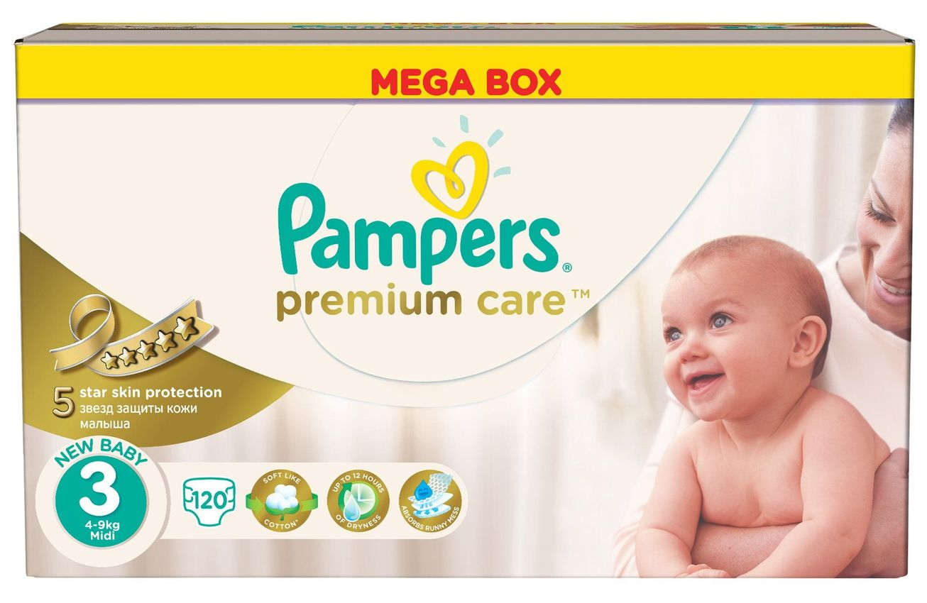 """Подгузники Памперс """"Pampers premium care new baby №3 (4-9 кг)"""" 120 штук в упак."""