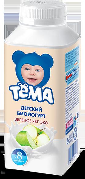 """Йогурт """"Детский биойогурт ЗЕЛЕНОЕ ЯБЛОКО"""" (мдж-2,8%) 210,0 для питания детей раннего возраста """"Тема"""""""