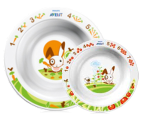 """Набор """"Тарелка глубокая большая 450 мл 12m+ и тарелка глубокая малая 230 мл 6m+"""" (голубого или розового цвета, два предмета), SCF708/01, """"AVENT"""""""