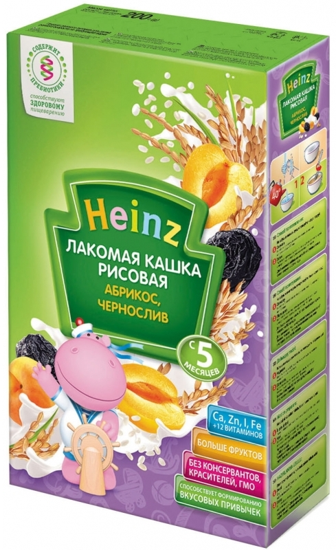 """""""Хайнц"""" каша """"Heinz"""" молочная """"Лакомая кашка рисовая АБРИКОС, ЧЕРНОСЛИВ (с пребиотиками)"""" 200,0"""