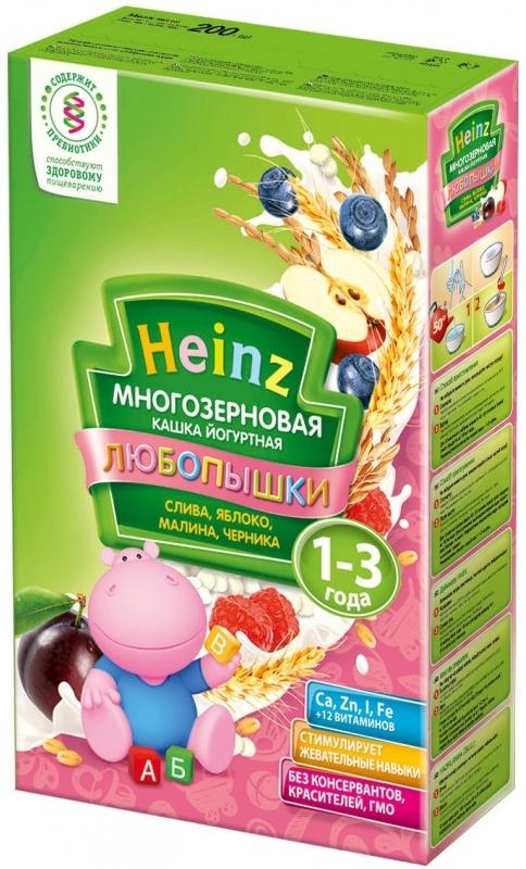 """""""Хайнц"""" каша """"Heinz"""" ЛЮБОПЫШКИ """"СЛИВА, ЯБЛОКО, МАЛИНА, ЧЕРНИКА (многозерновая кашка фруктово-йогуртная, с пребиотиками)"""" 200,0"""