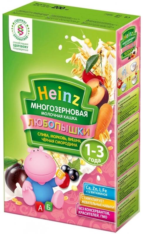 """""""Хайнц"""" каша """"Heinz"""" ЛЮБОПЫШКИ """"СЛИВА, МОРКОВЬ, ВИШНЯ, ЧЕРНАЯ СМОРОДИНА (многозерновая кашка фруктово-молочная, с пребиотиками)"""" 200,0"""