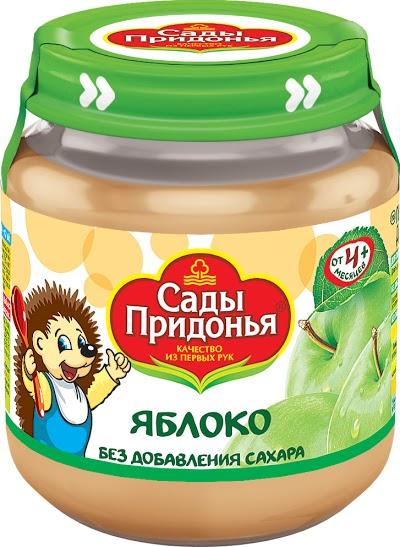 """Пюре """"Яблоко без сахара"""" 120,0 """"Сады Придонья"""" (стеклобанка)"""