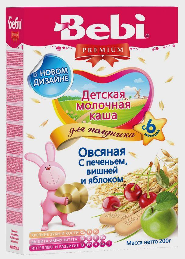 """""""Беби"""" каша """"Bebi Premium"""" молочная для полдника """"Овсяная с печеньем, вишней и яблоком"""" 200,0"""