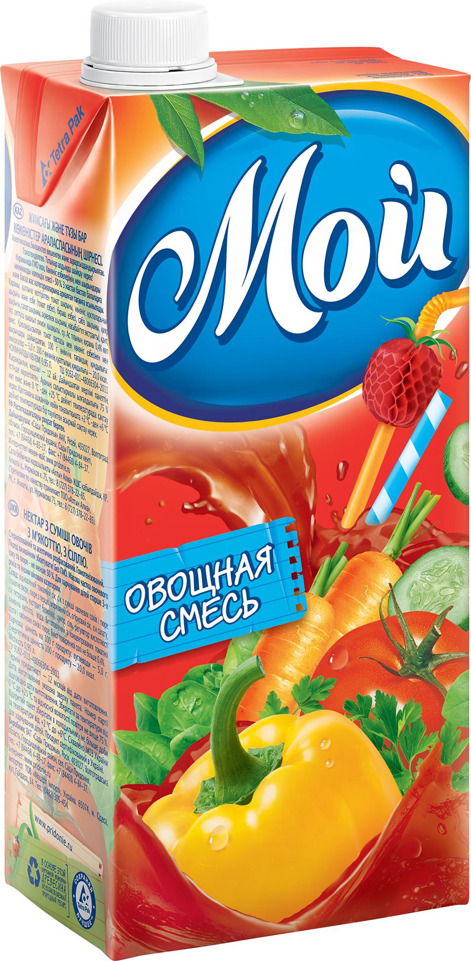 """Нектар """"Овощная смесь (с мякотью и солью)"""" 950 мл """"Мой"""""""