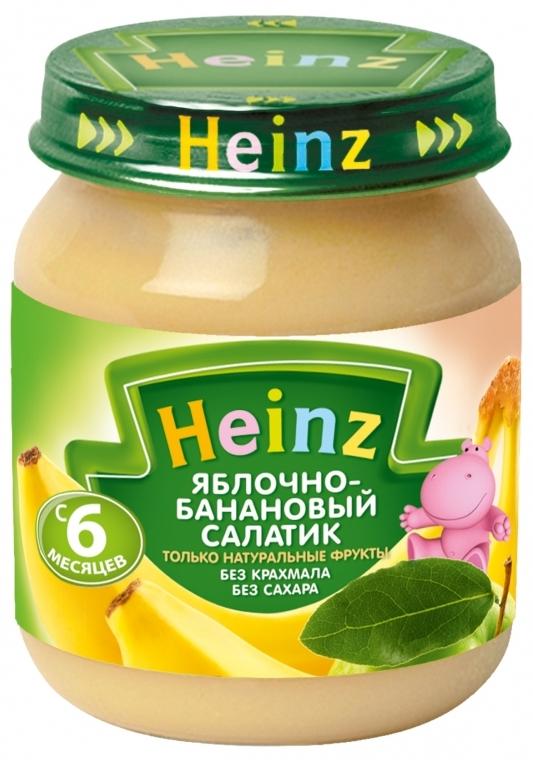 "Пюре ""Яблочно-банановый салатик (без сахара, с вит.С)"" 120,0 ""Хайнц"""