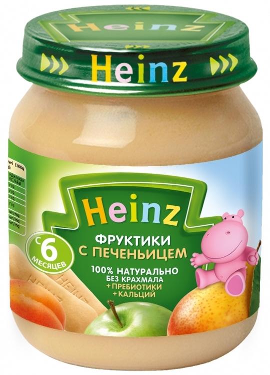 """Пюре """"Фруктики с печеньицем (с пребиотиками, обогащенное кальцием, с вит.С)"""" 120,0 """"Хайнц"""""""