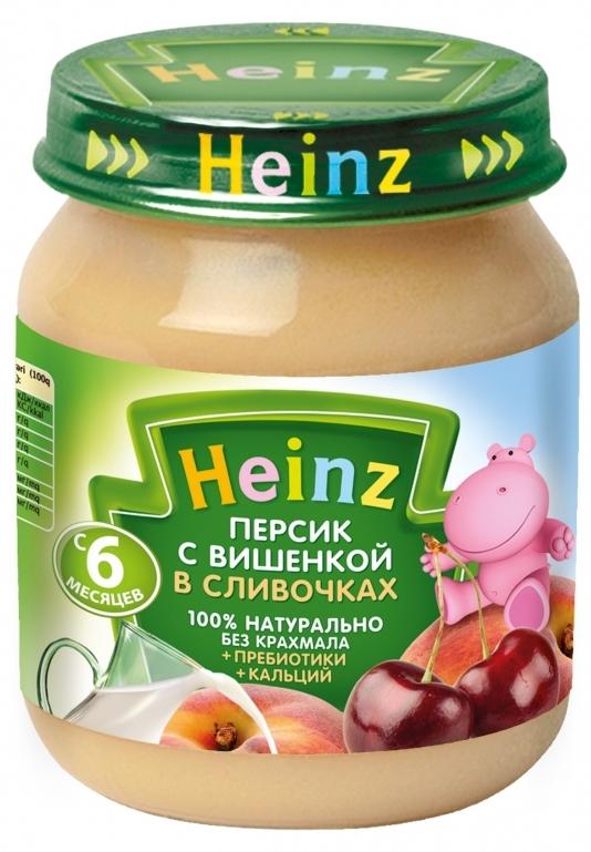 """Пюре """"Персик с вишенкой в сливочках (с пребиотиками, обогащенное кальцием, с вит.С)"""" 120,0 """"Хайнц"""""""