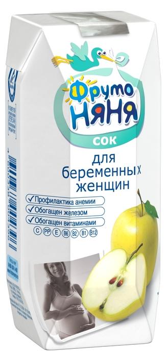 """Сок для беременных женщин """"Яблочный с мякотью"""" (без сахара, обогащенный витаминами и железом) 330 мл """"ФрутоНяня"""""""