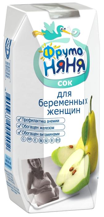 """Сок для беременных женщин """"Яблоко-Груша"""" (с мякотью, без сахара, обогащенный витаминами и железом) 330 мл """"ФрутоНяня"""""""