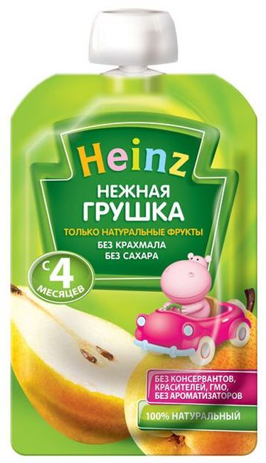 """Пюре """"Нежная грушка (без сахара, с вит.С)"""" 100,0 """"Хайнц"""" (пауч-упаковка)"""