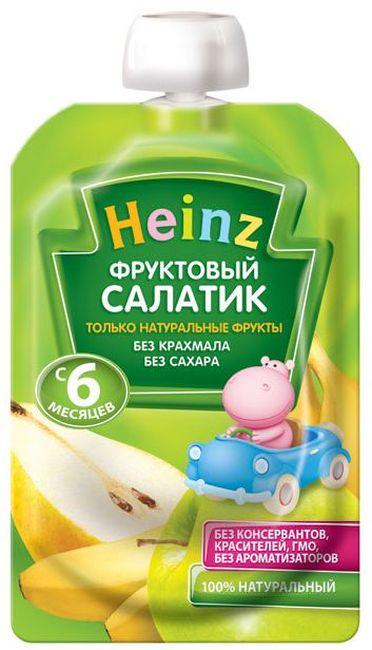 """Пюре """"Фруктовый салатик (без сахара, с вит.С)"""" 100,0 """"Хайнц"""" (пауч-упаковка)"""