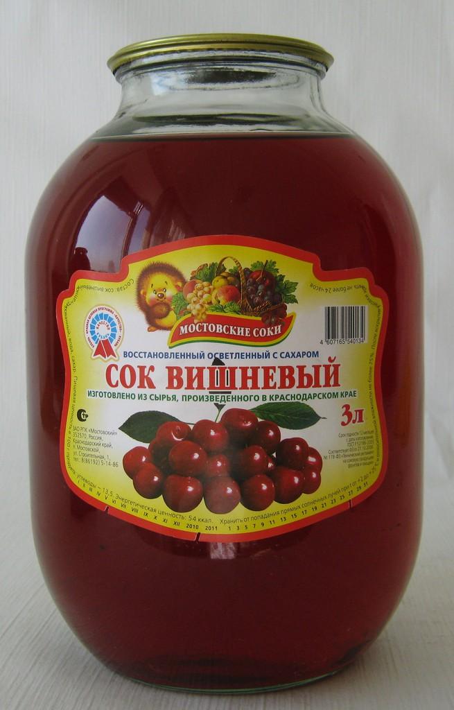 """Сок вишневый осветленный с сахаром 3 литра """"Мостовские соки"""""""