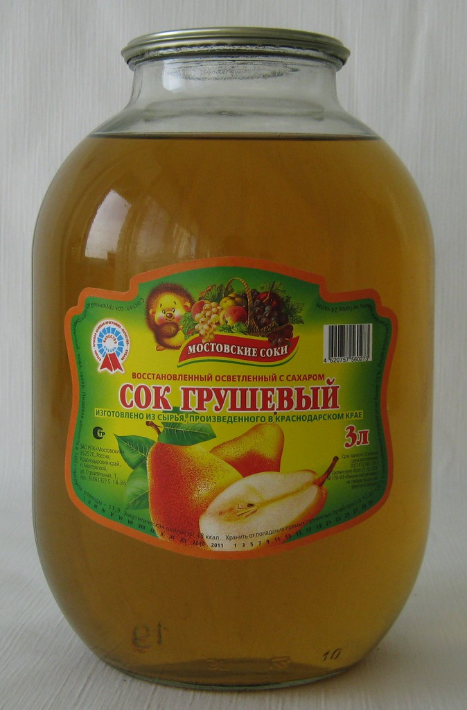 """Сок грушевый осветленный с сахаром 3 литра """"Мостовские соки"""""""