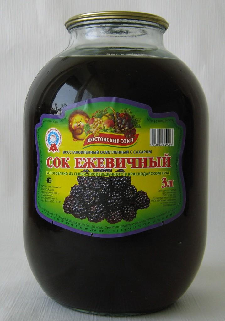 """Сок ежевичный осветленный с сахаром 3 литра """"Мостовские соки"""""""