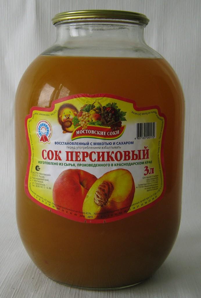 """Сок персиковый с мякотью и сахаром 3 литра """"Мостовские соки"""""""