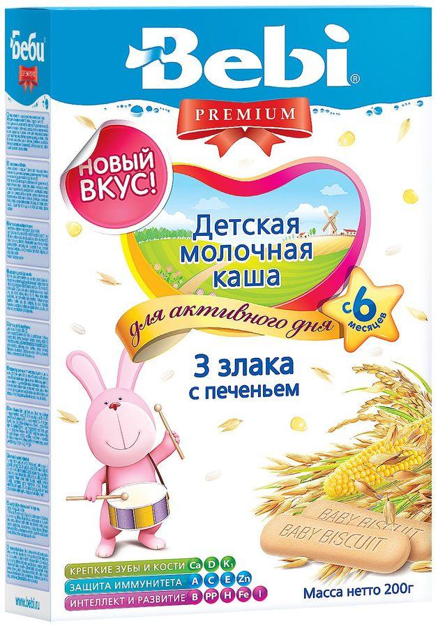 """Беби"" каша ""Bebi Premium"" молочная ""3 злака с печеньем"" 200,0"