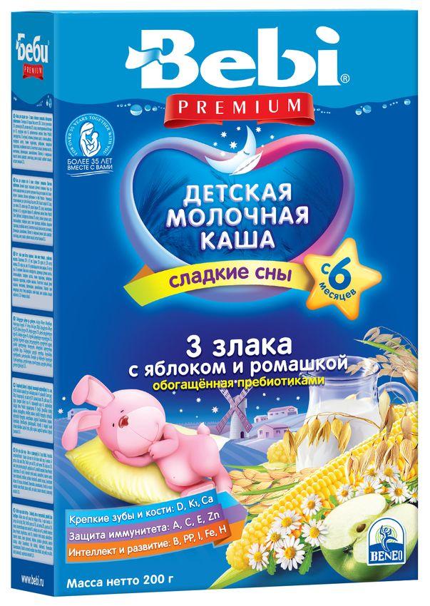 """""""Беби"""" каша """"Bebi Premium"""" молочная """"3 злака с яблоком и ромашкой, обогащенная пребиотиками (""""Сладкие сны"""")"""" 200,0"""