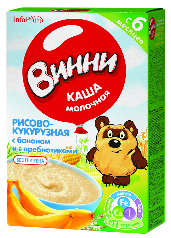 """Винни"" каша молочная ""Рисово-кукурузная с бананом и с пребиотиками"" 220,0"