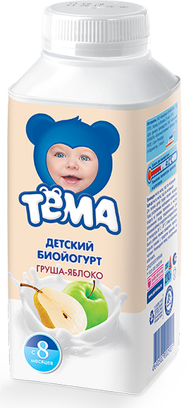 """Йогурт """"Детский биойогурт ГРУША ЯБЛОКО"""" (мдж-2,8%) 210,0 для питания детей раннего возраста """"Тема"""""""