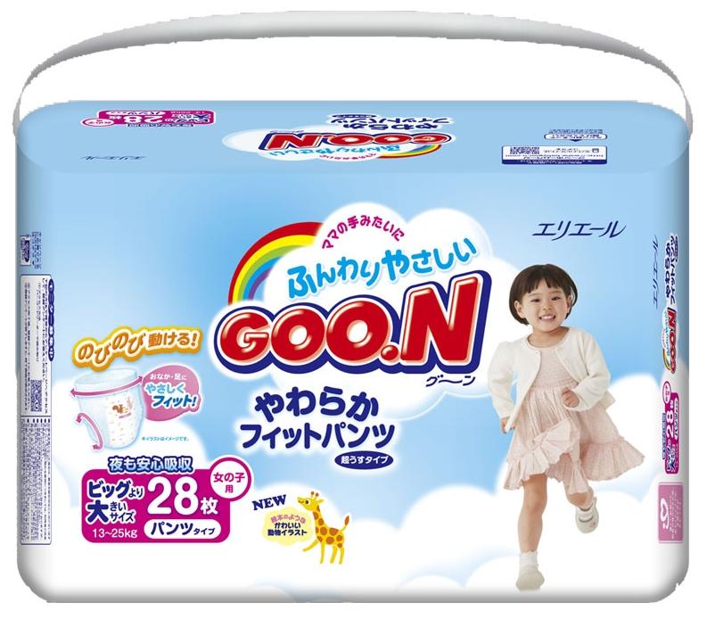 """Подгузники-трусики """"GOO.N (13-25 кг) XXL"""" 28 штук в упак., для девочек"""