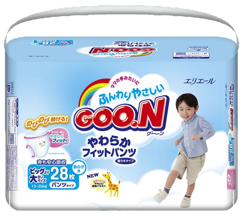 """Подгузники-трусики """"GOO.N (13-25 кг) XXL"""" 28 штук в упак., для мальчиков"""