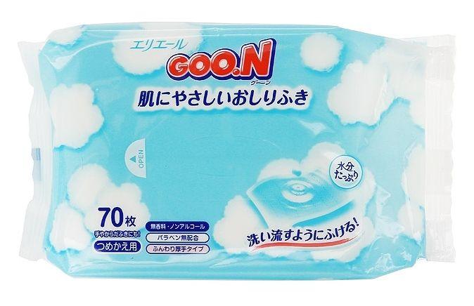 """Салфетки детские влажные """"GOO.N"""" (гипоаллергенные, без спирта и отдушки)  70 штук в упак."""
