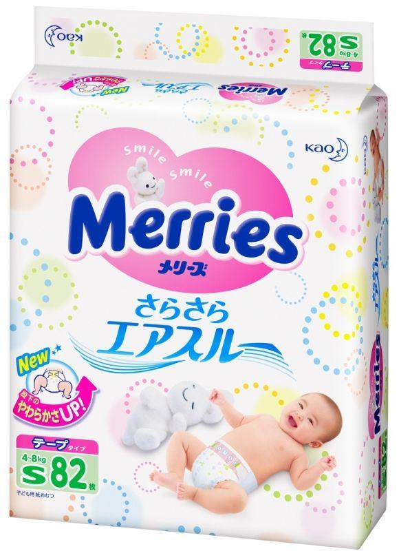 """Подгузники """"Merries (4-8 кг) S"""" 82 штуки в упак."""