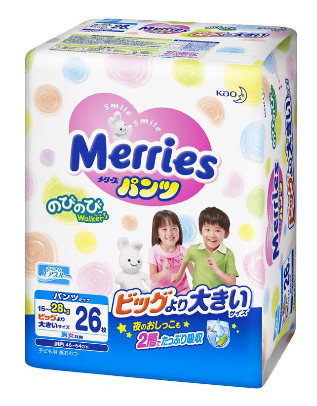 """Подгузники-трусики """"Merries (15-28 кг) XXL"""" 26 штук в упак."""