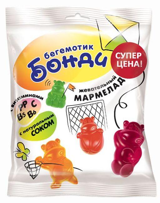 """Жевательный мармелад """"Бегемотик Бонди. Ассорти вкусов"""" 30,0 (витаминизированный, содержит натуральный сок (яблоко, вишня, черная смородина, клубника, лимон, апельсин))"""