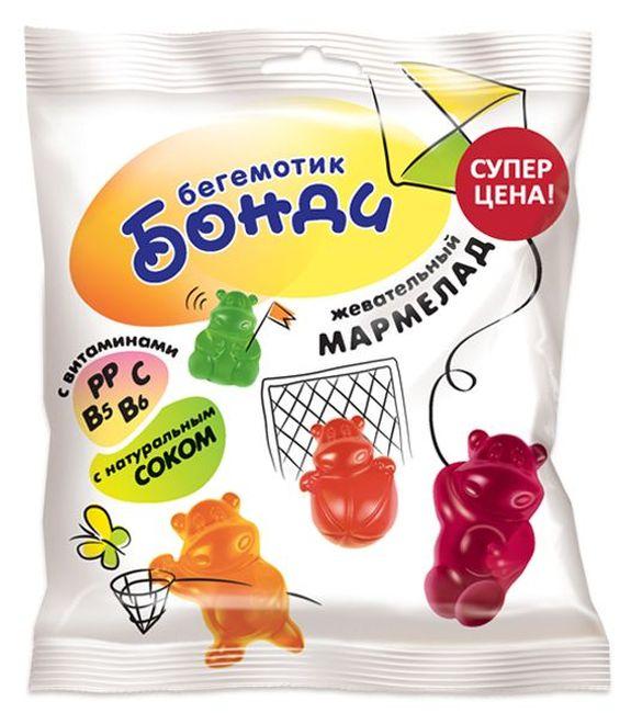 """Жевательный мармелад """"Бегемотик Бонди. Ассорти вкусов"""" 70,0 (витаминизированный, содержит натуральный сок (яблоко, вишня, черная смородина, клубника, лимон, апельсин))"""