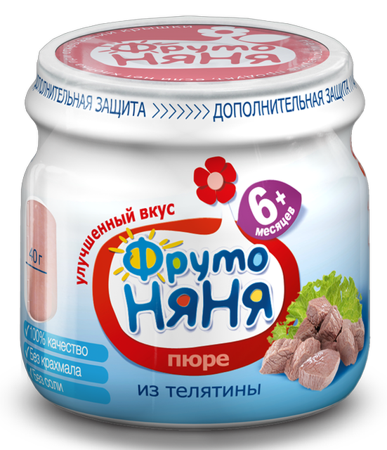 "Пюре мясное ""Телятина (без соли)"" 80,0 ""ФрутоНяня"""