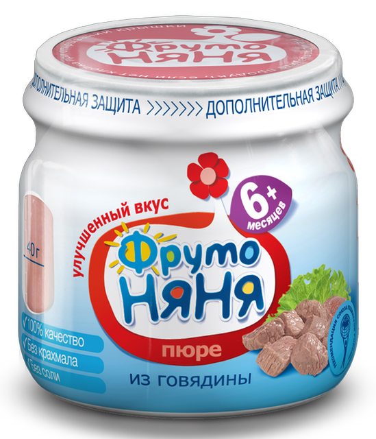 "Пюре мясное ""Говядина (без соли)"" 80,0 ""ФрутоНяня"""