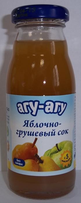 "Сок ""Яблоко-Груша (с мякотью, без сахара)"" 170 мл ""АГУ-АГУ"""