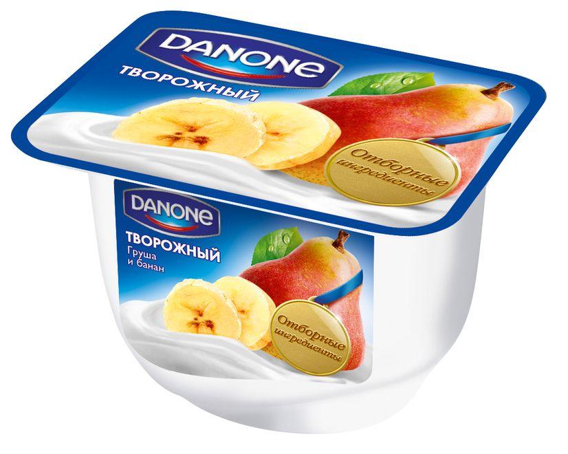 """Продукт """"DANONE творожный Груша и Банан (мдж-3,6%)"""" 170,0 (молочный продукт с творожным кремом с грушей и бананом)"""