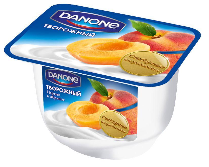 """Продукт """"DANONE творожный Персик и Абрикос (мдж-3,6%)"""" 170,0 (молочный продукт с творожным кремом с персиком и абрикосом)"""