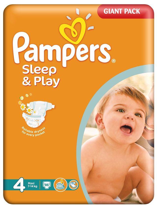 """Подгузники Памперс """"Pampers Sleep & Play №4 (7-14 кг), с ароматом ромашки"""" 86 штук в упак."""