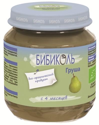 """Пюре """"Груша"""" 125,0 (без сахара, биоорганический продукт) """"Бибиколь"""""""
