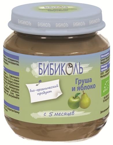 """Пюре """"Груша и Яблоко"""" 125,0 (без сахара, биоорганический продукт) """"Бибиколь"""""""
