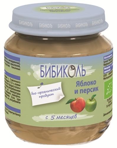 """Пюре """"Яблоко и Персик"""" 125,0 (без сахара, биоорганический продукт) """"Бибиколь"""""""