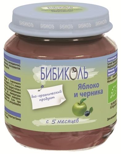 """Пюре """"Яблоко и Черника"""" 125,0 (без сахара, биоорганический продукт) """"Бибиколь"""""""