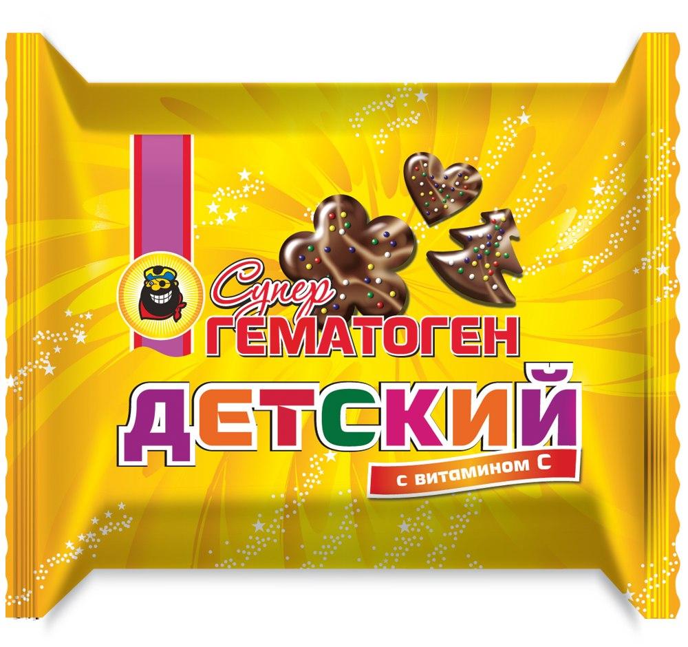 """Гематоген """"Супер ДЕТСКИЙ с витаминами"""" (в форме фигурок в шоколадной глазури, декорированный белым шоколадом) 35,0"""