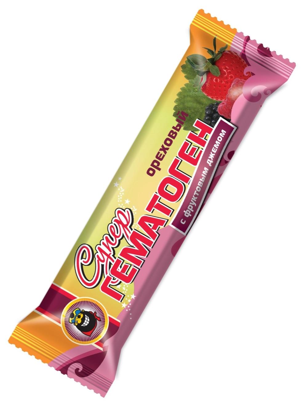"""Гематоген """"Супер ОРЕХОВЫЙ с фруктовым джемом, с вит.С"""" (в шоколадной глазури) 35,0"""