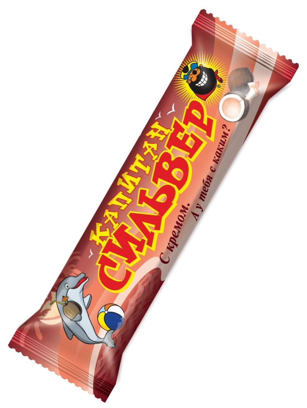 """""""Капитан Сильвер"""" (батончик кокосовый с кремом (карамельным, ванильным, шоколадным, ореховым, сливочным) витаминизированный, в шоколадной глазури) 50,0"""