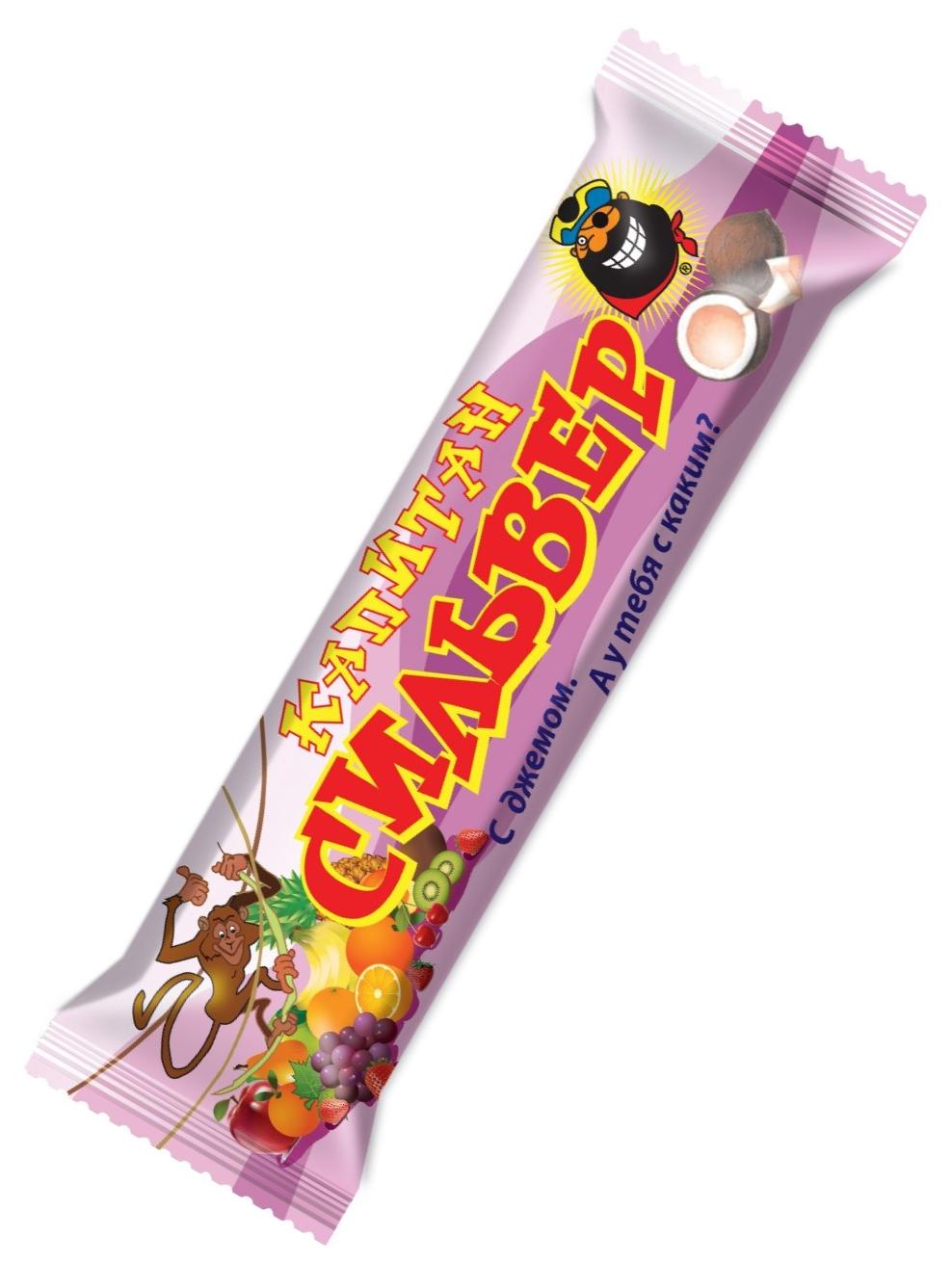 """""""Капитан Сильвер"""" (батончик кокосовый с джемом (малина, вишня, клубника, смородина, абрикос, персик) витаминизированный, в шоколадной глазури) 50,0"""