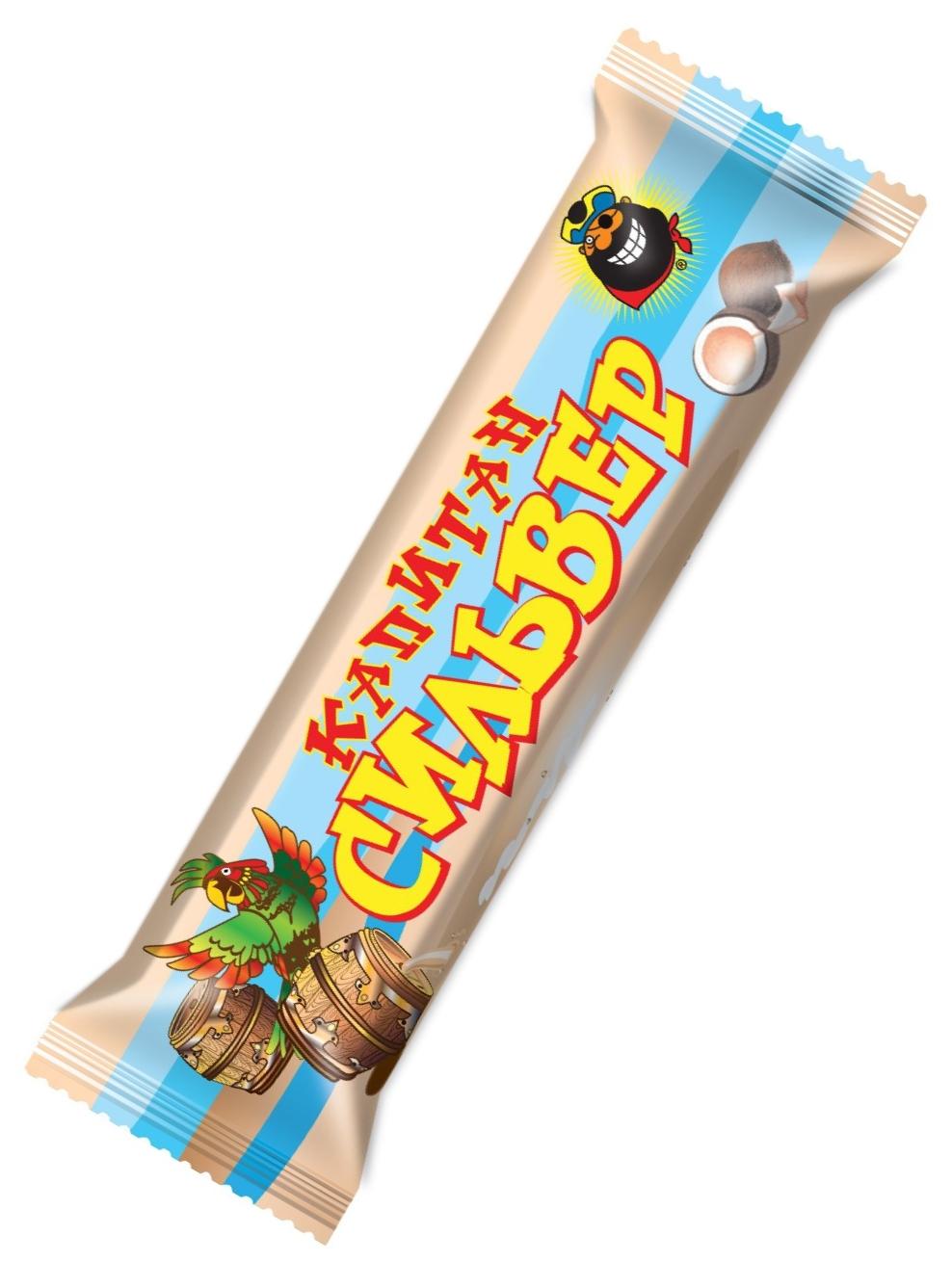 """""""Капитан Сильвер"""" (батончик кокосовый с вареным сгущенным молоком витаминизированный, в шоколадной глазури) 50,0"""