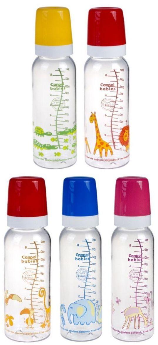 """Бутылочка пластиковая 250 мл с соской силиконовой универсальной """"12m+"""" (дизайн рисунка """"Африка"""", с ершиком для соски), 11/840, """"Canpol babies"""""""
