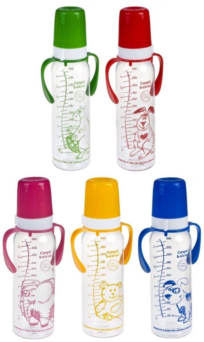 """Бутылочка пластиковая 250 мл с ручками с соской силиконовой универсальной """"12m+"""" (дизайн рисунка """"Животные"""", с ершиком для соски), 11/815, """"Canpol babies"""""""
