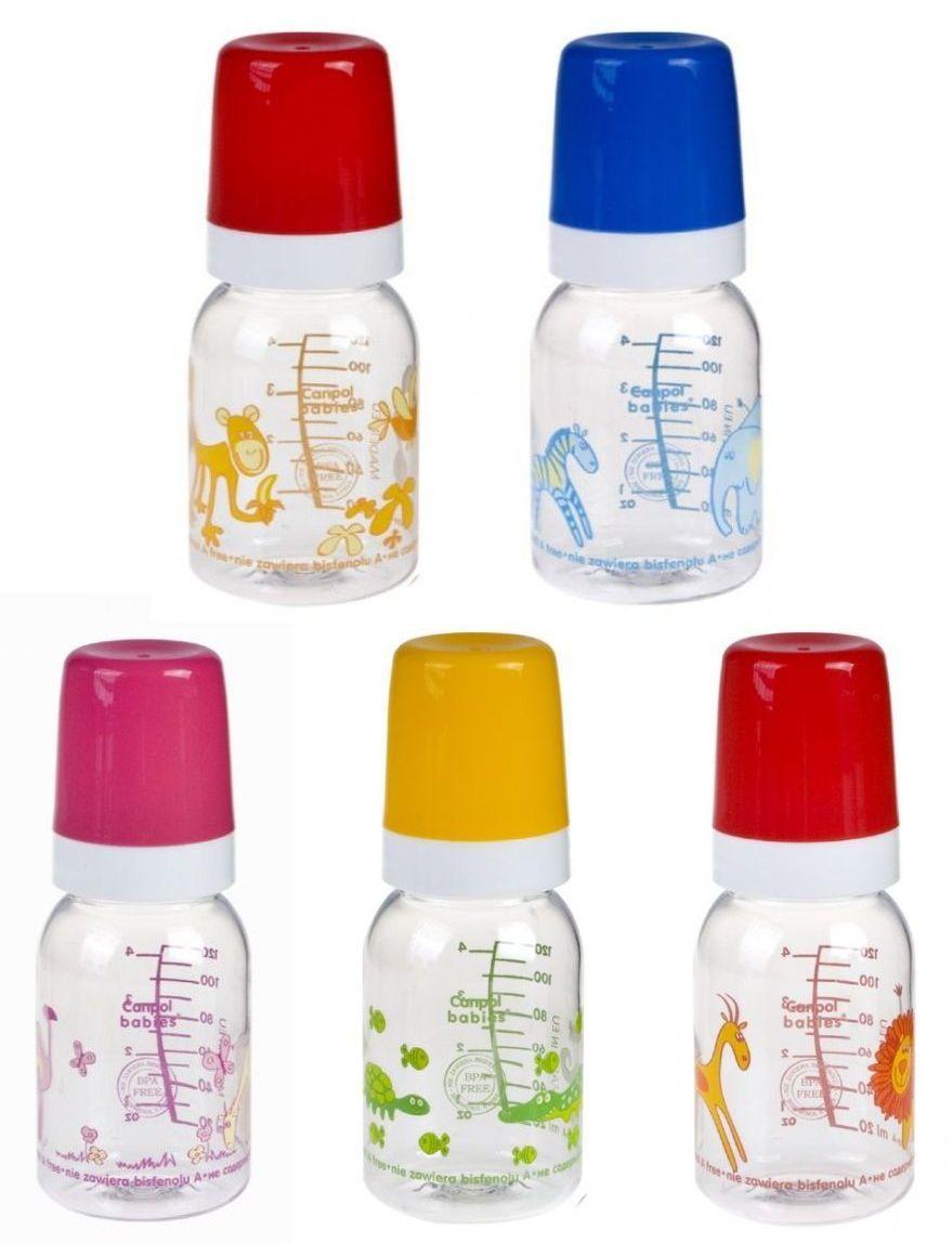 """Бутылочка пластиковая 120 мл с соской силиконовой универсальной """"3m+"""" (дизайн рисунка """"Африка"""", с ершиком для соски), 11/850, """"Canpol babies"""""""