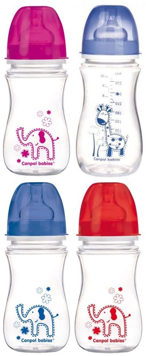 """Бутылочка пластиковая 240 мл с широким горлом (EasyStart) с соской силиконовой """"3-6m+"""" (дизайн рисунка """"Красочные животные""""), 35/206, """"Canpol babies"""""""